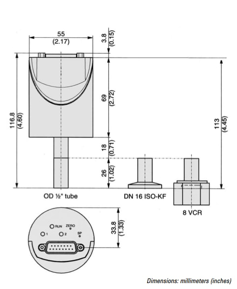 CDG-500 Capacitance Diaphragm Gauge Outline Drawing