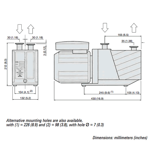 DS-102 Rotary Vane Pump Outline Drawing