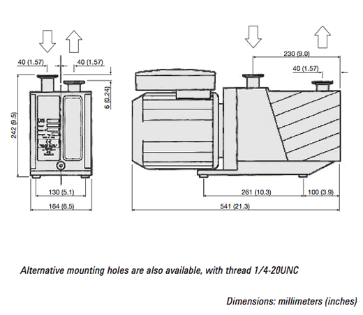DS-602 Rotary Vane Pump Outline Drawing