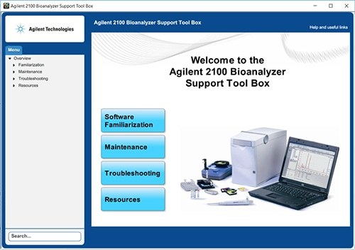 Bioanalyzer Support Tool Box screen capture