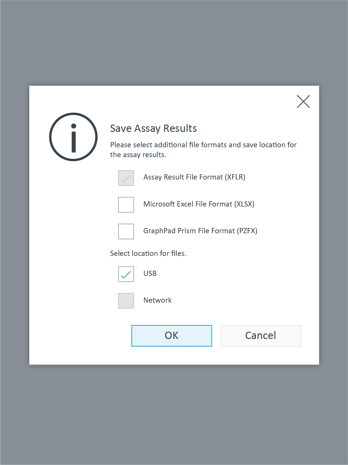 XFp Action Dialog Save Assay Results