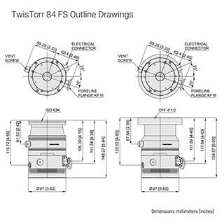 Small Turbo Pump, 80 L/s turbo pump, TwisTorr 84 FS | Agilent